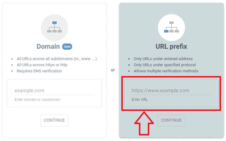 ثبت سایت در سرچ کنسول گوگل :URL prefix