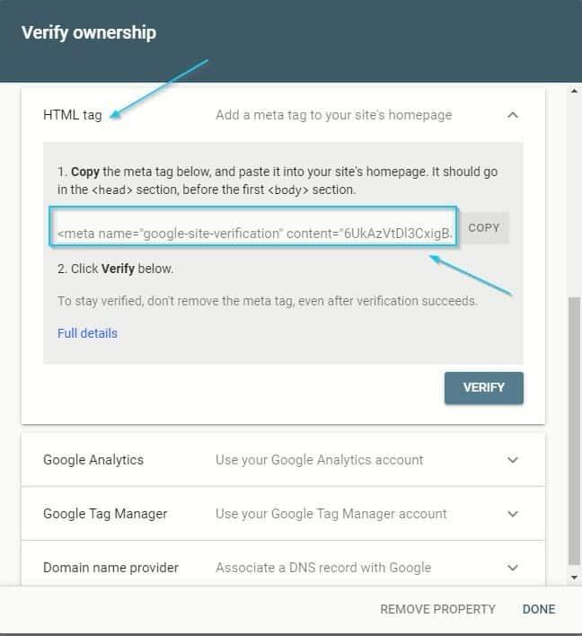 روش دوم ثبت سایت در گوگل سرچ کنسول: تگHTML یا HTML tag